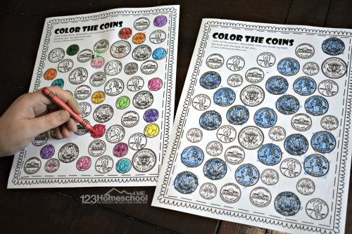 small resolution of FREE Printable Color the Coin Money Worksheets