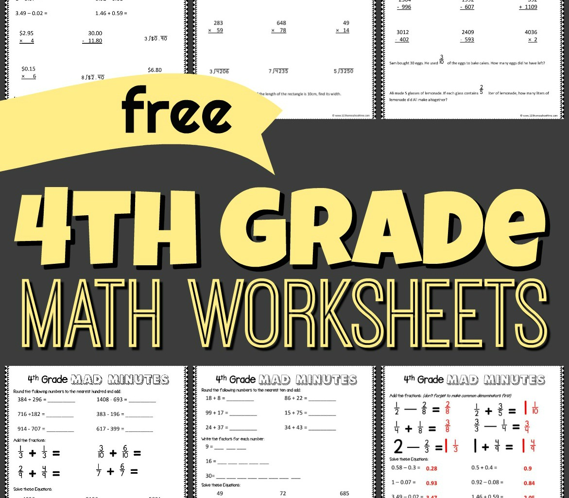 hight resolution of FREE 4th Grade Math Worksheets
