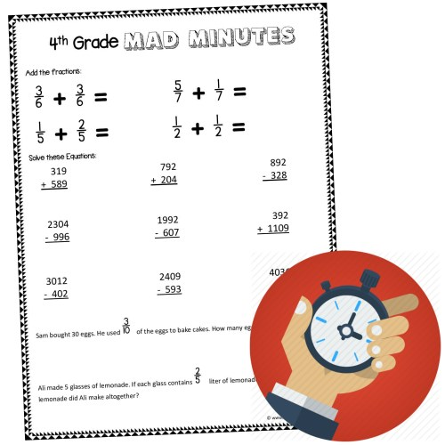 small resolution of 4th Grade Worksheets Projects Math   Printable Worksheets and Activities  for Teachers