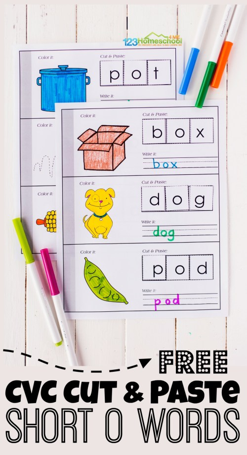 small resolution of FREE Short o Words CVC Cut and Paste Printable