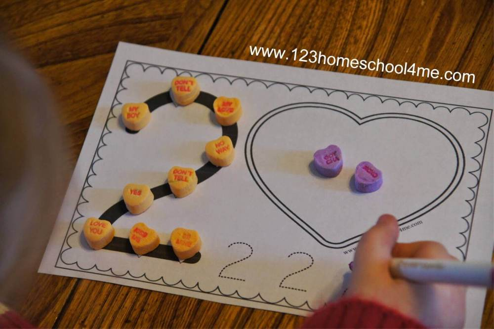 medium resolution of Numbers Valentine's Day Worksheets with Conversation Hearts