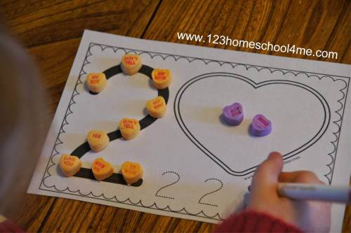 small resolution of Numbers Valentine's Day Worksheets with Conversation Hearts