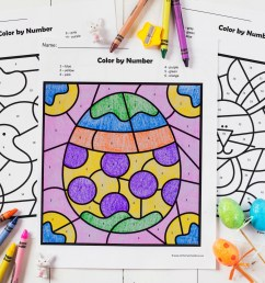 FREE Easter Color by Number Worksheets [ 1024 x 1537 Pixel ]