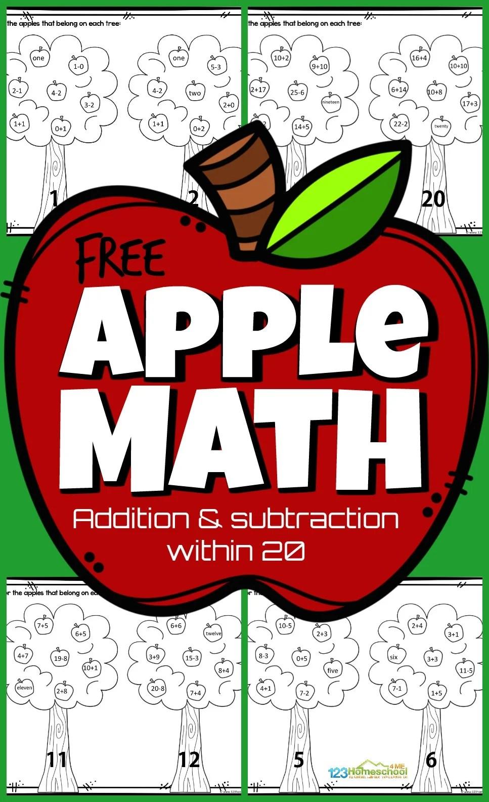 medium resolution of Apple Math Worksheets