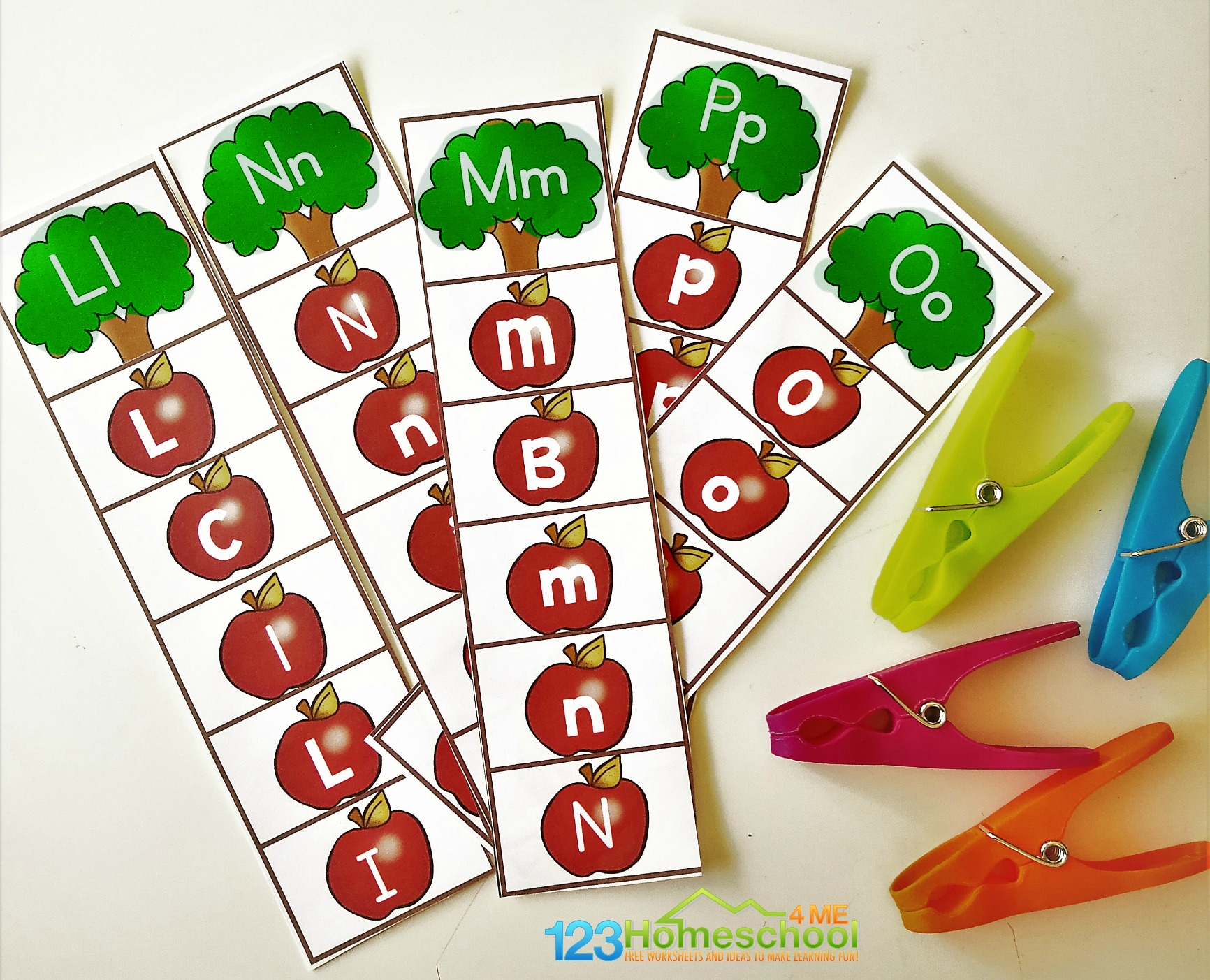 Free Alphabet Apple Clipping Strips