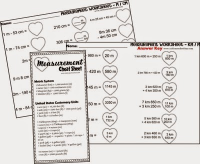 FREE Valentines Day Measurement Worksheets for 2nd-5th
