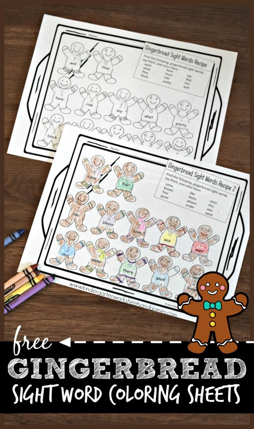 small resolution of Gingerbread Sight Words Worksheets