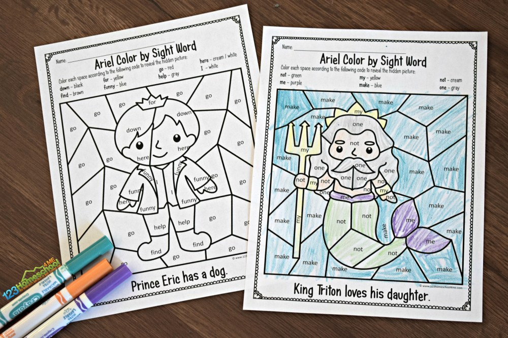 medium resolution of FREE Little Mermaid Color by Sight Word
