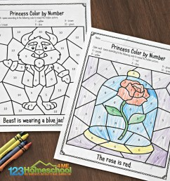 FREE 🌹 Beauty and the Beast Color by Number Worksheets [ 1024 x 1289 Pixel ]