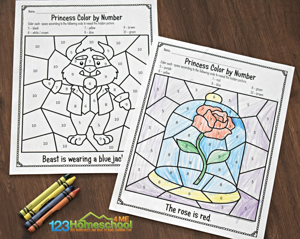 medium resolution of FREE 🌹 Beauty and the Beast Color by Number Worksheets