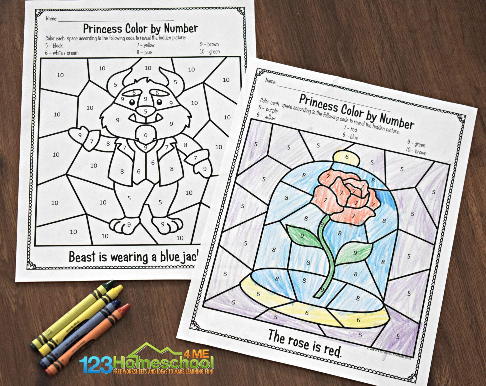 hight resolution of FREE 🌹 Beauty and the Beast Color by Number Worksheets