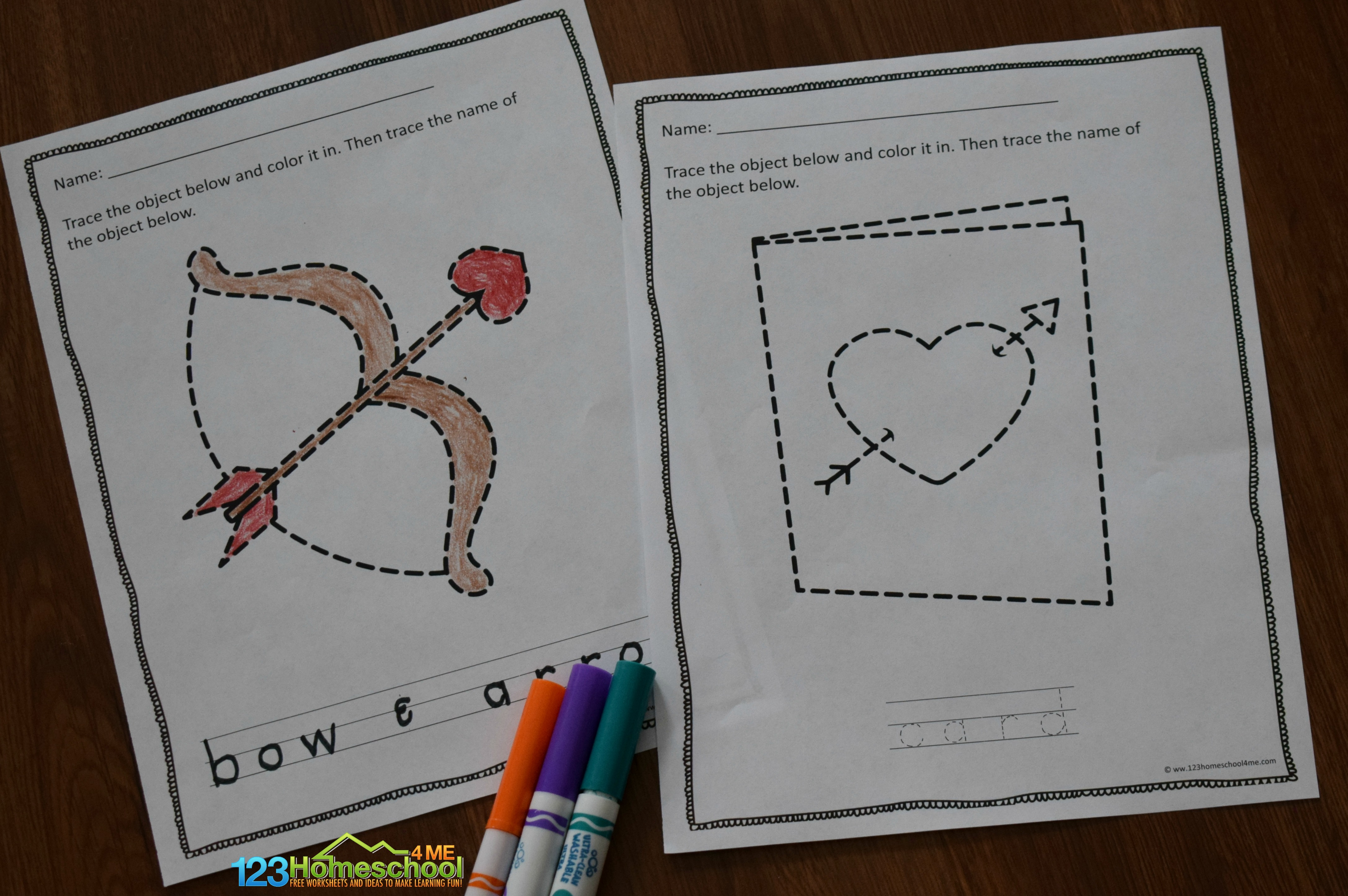 Free Valentines Day Tracing Worksheets