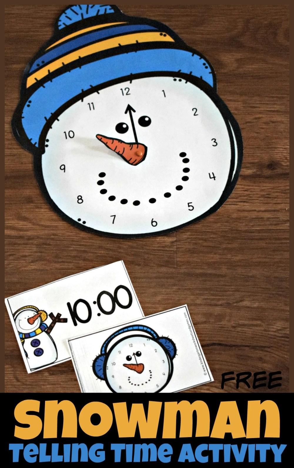 medium resolution of FREE Snowman Clock Activity