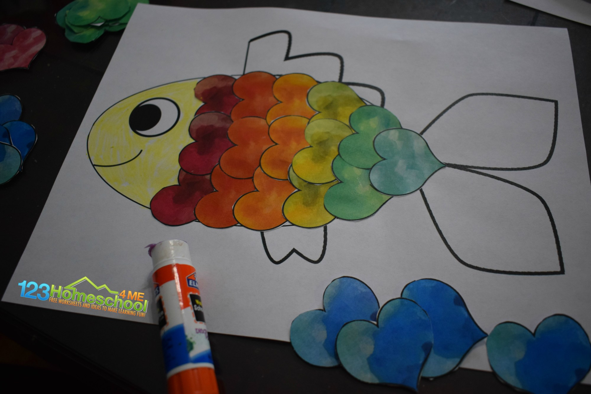 hight resolution of Heart Fish Craft for Valentines Day (Free Printable!)