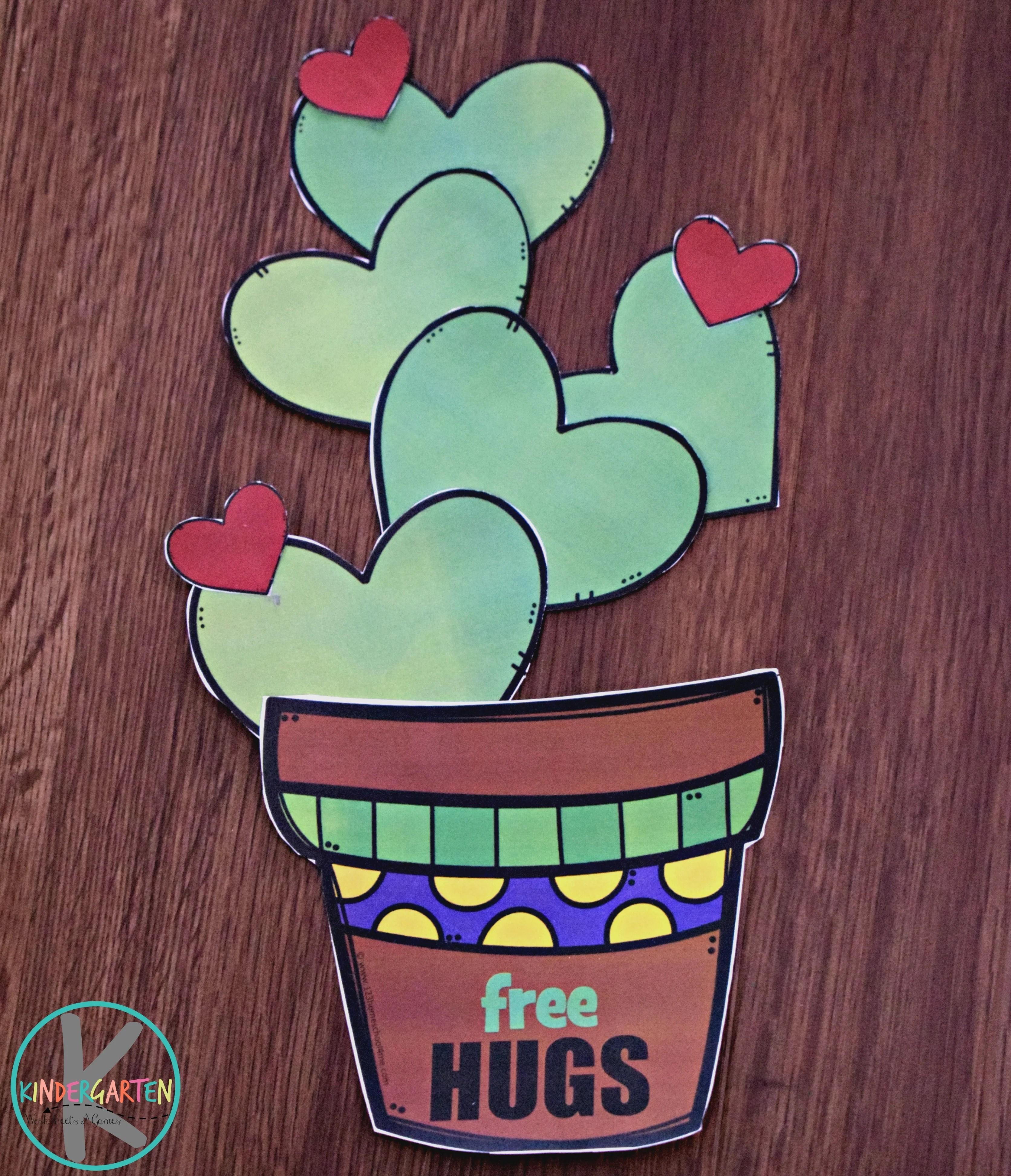 Free Printable Valentines Day Cactus Craft