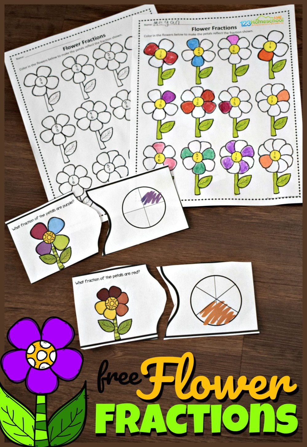 medium resolution of FREE Fraction Flowers Puzzles and Worksheets