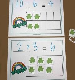 FREE St Patrick's Day Math Equation Mats Printable (K-4th grade) [ 1365 x 1024 Pixel ]