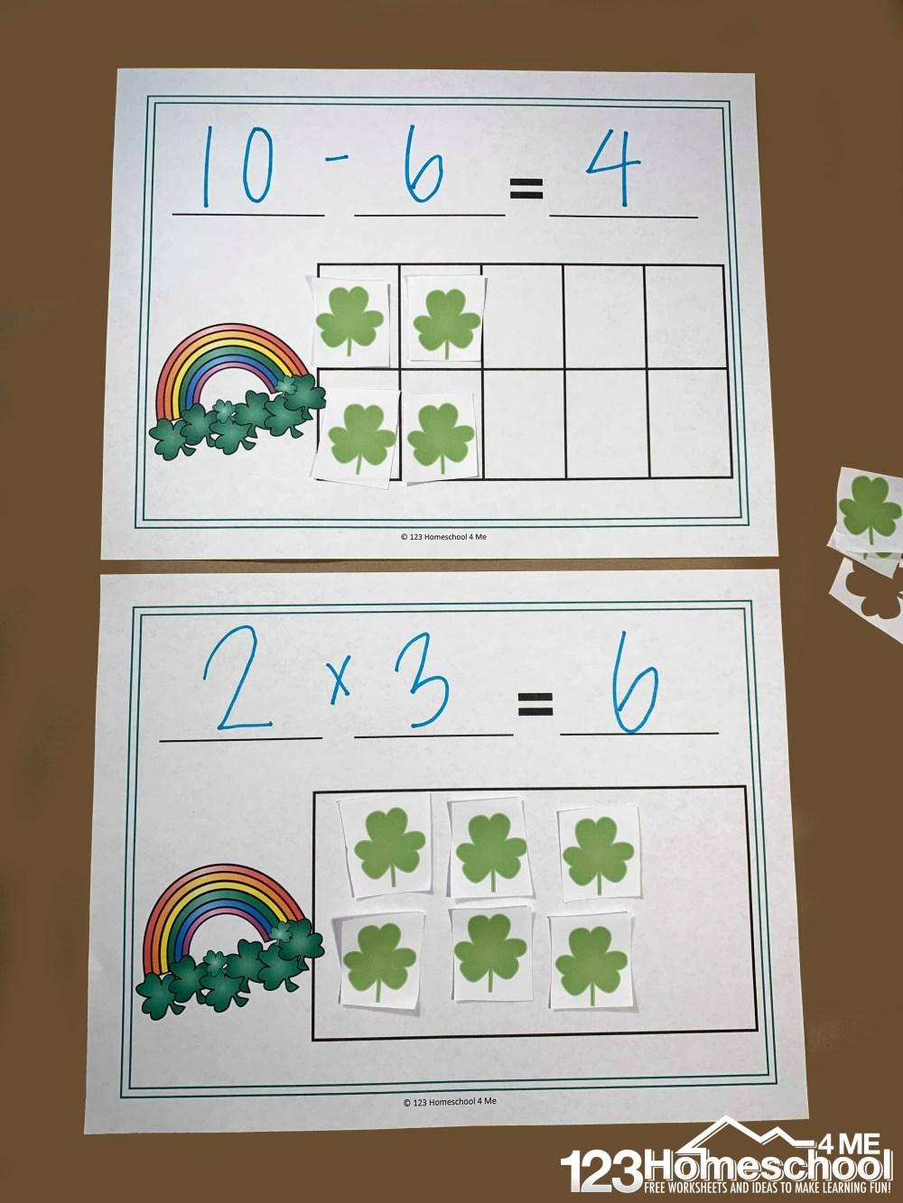 medium resolution of FREE St Patrick's Day Math Equation Mats Printable (K-4th grade)