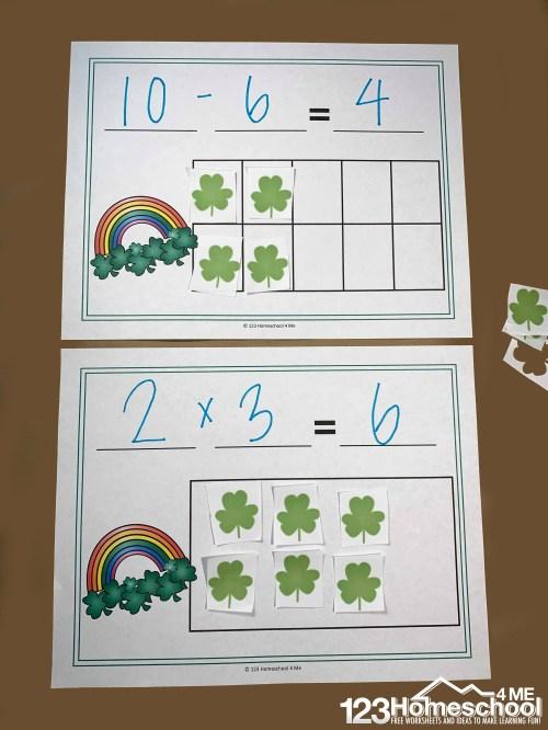 small resolution of FREE St Patrick's Day Math Equation Mats Printable (K-4th grade)