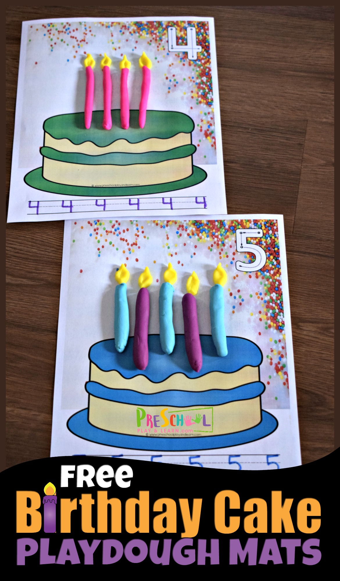 Free Birthday Candles Playdough Mats