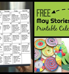 FREE May Activity Calendar with Stories for Kids [ 874 x 1960 Pixel ]