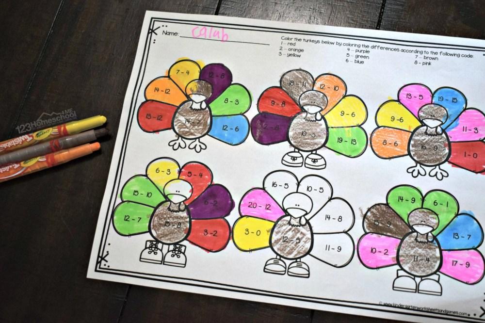 medium resolution of FREE Turkey Subtraction - Thanksgiving Math Worksheets