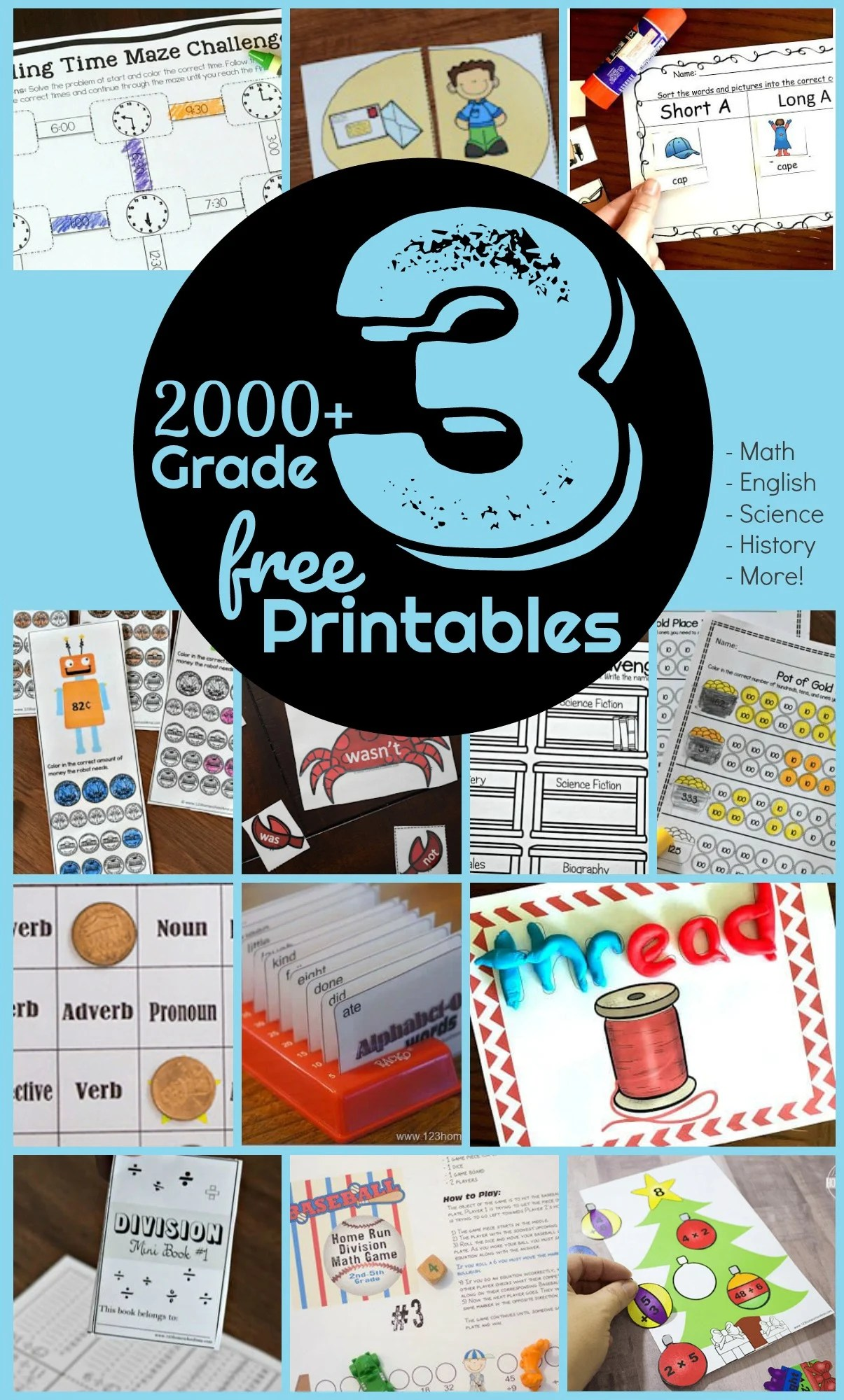 Free 3rd Grade Worksheets