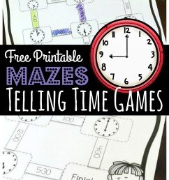 FREE Maze Challenge Telling Time Games Printable [ 1583 x 1024 Pixel ]