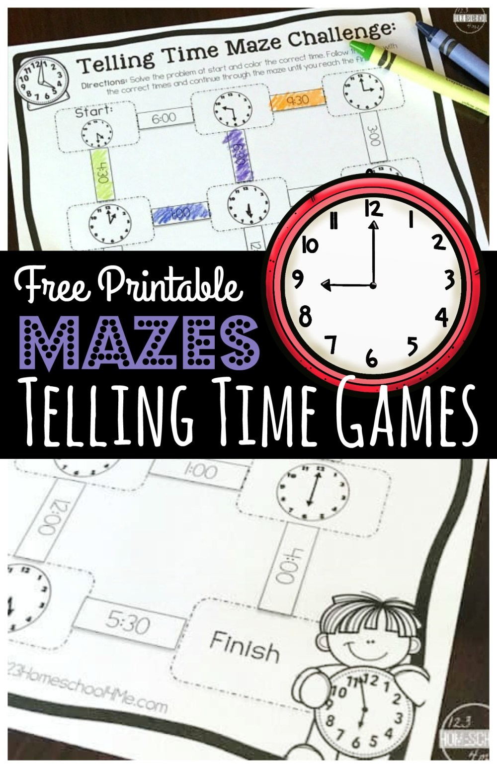 medium resolution of FREE Maze Challenge Telling Time Games Printable