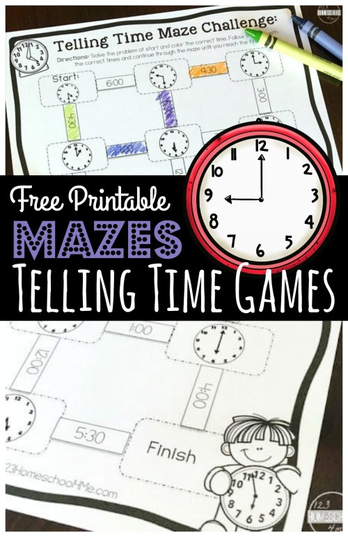 small resolution of FREE Maze Challenge Telling Time Games Printable