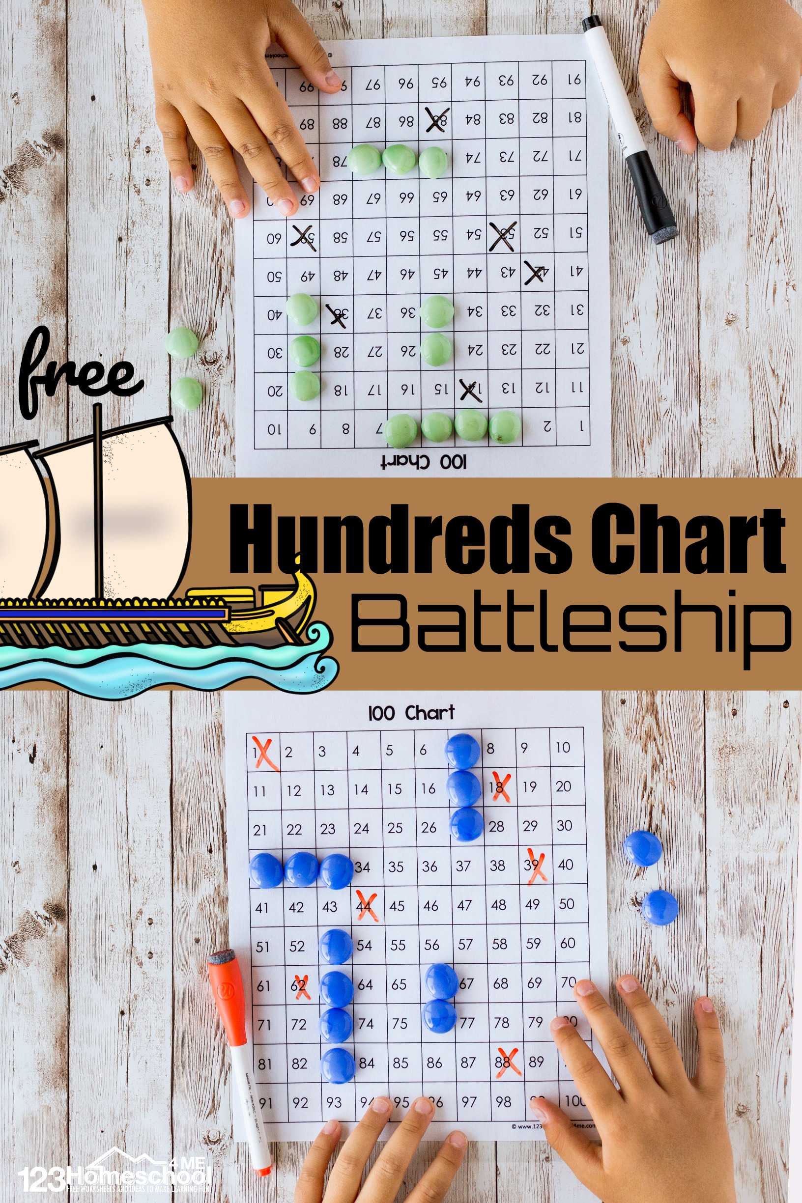 hight resolution of FREE Hundreds Chart Battleship - a Counting to 100 Game