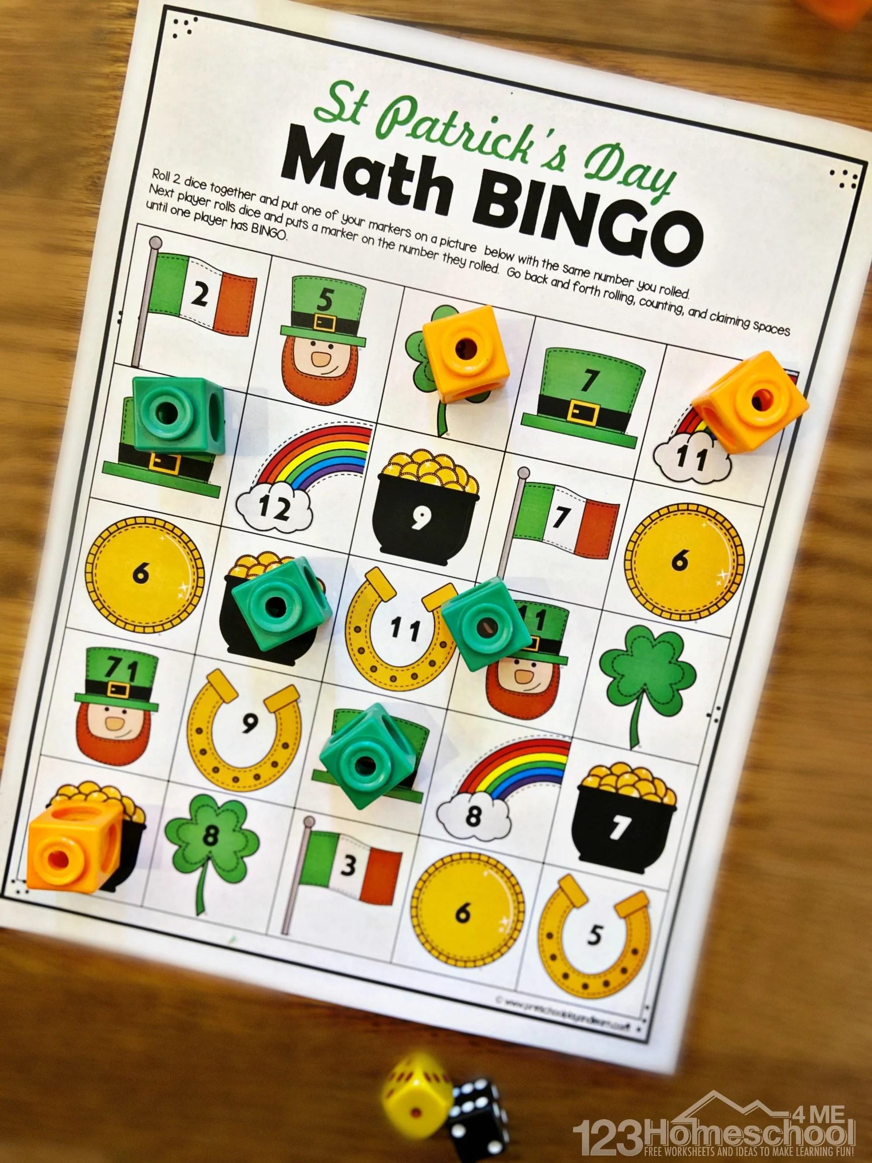 hight resolution of FREE St Patricks Day Math Bingo Printables