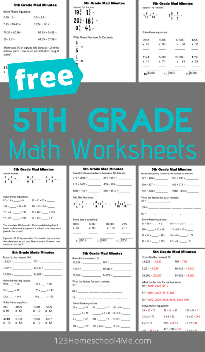 medium resolution of 5th Grade Math Worksheets