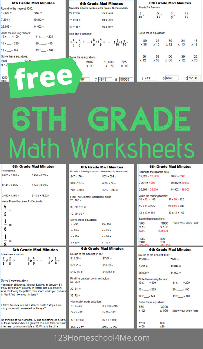 hight resolution of FREE 6th Grade Math Worksheets