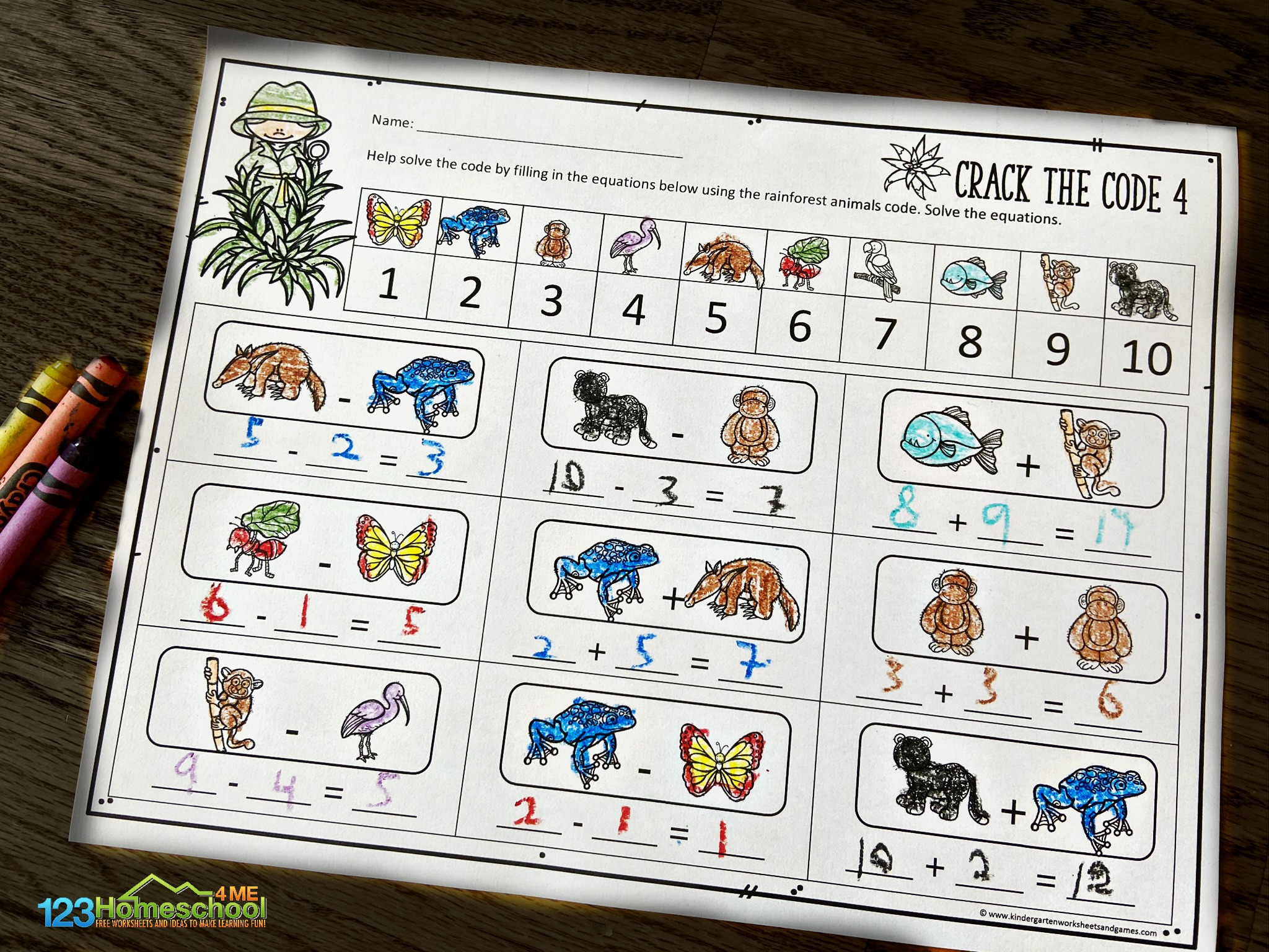 Math Crack The Code Worksheets