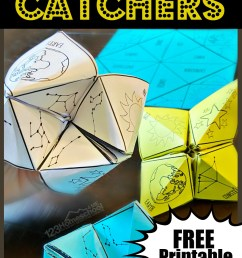 FREE Constellations Cootie Catcher Printable [ 1860 x 1024 Pixel ]