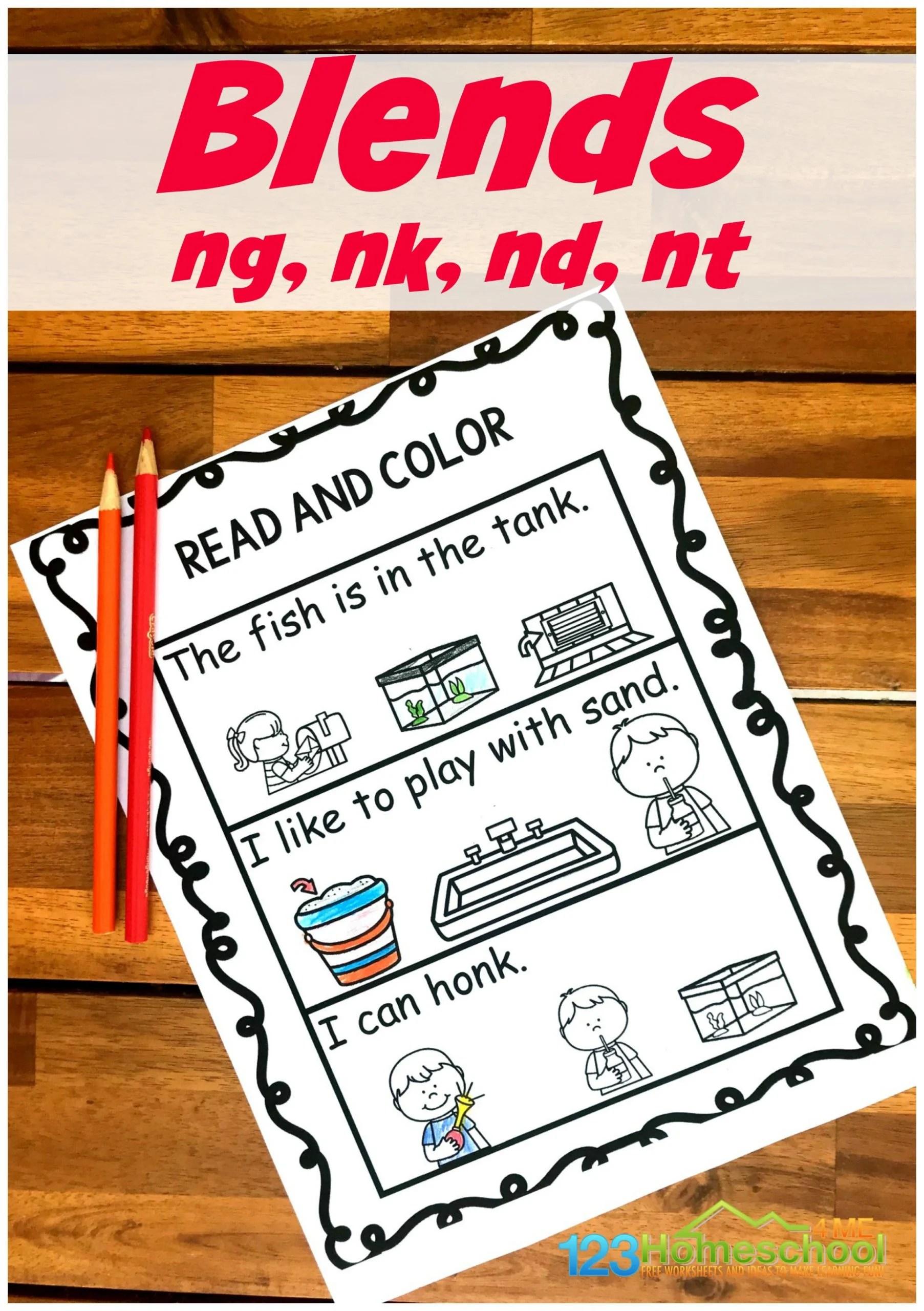 Free Read Amp Color Ending Blend Worksheets