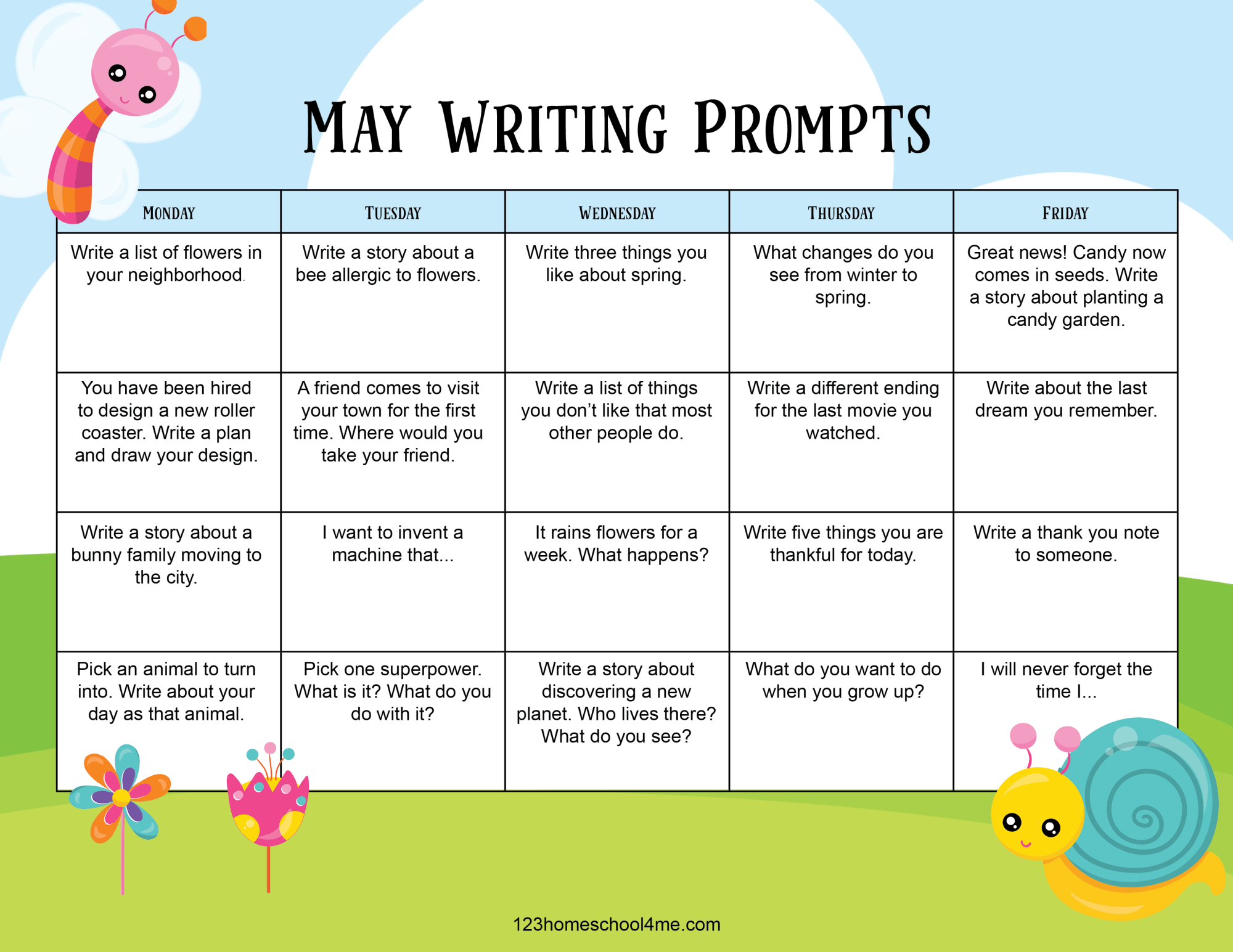 hight resolution of ✏️ FREE Printable May Writing Prompts Calendar