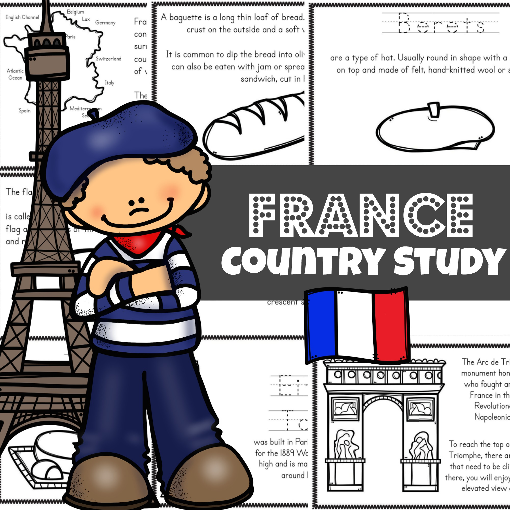 France For Kids Printable Mini Book