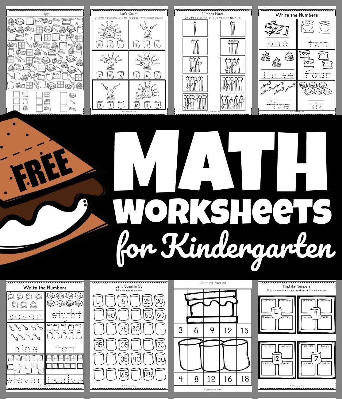 Smores Free Math Worksheets For Kindergarten