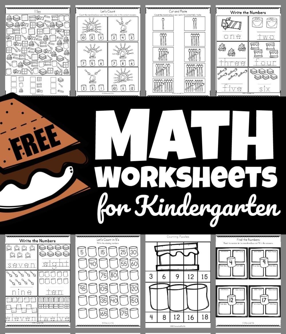 medium resolution of Smores Free Math Worksheets for Kindergarten
