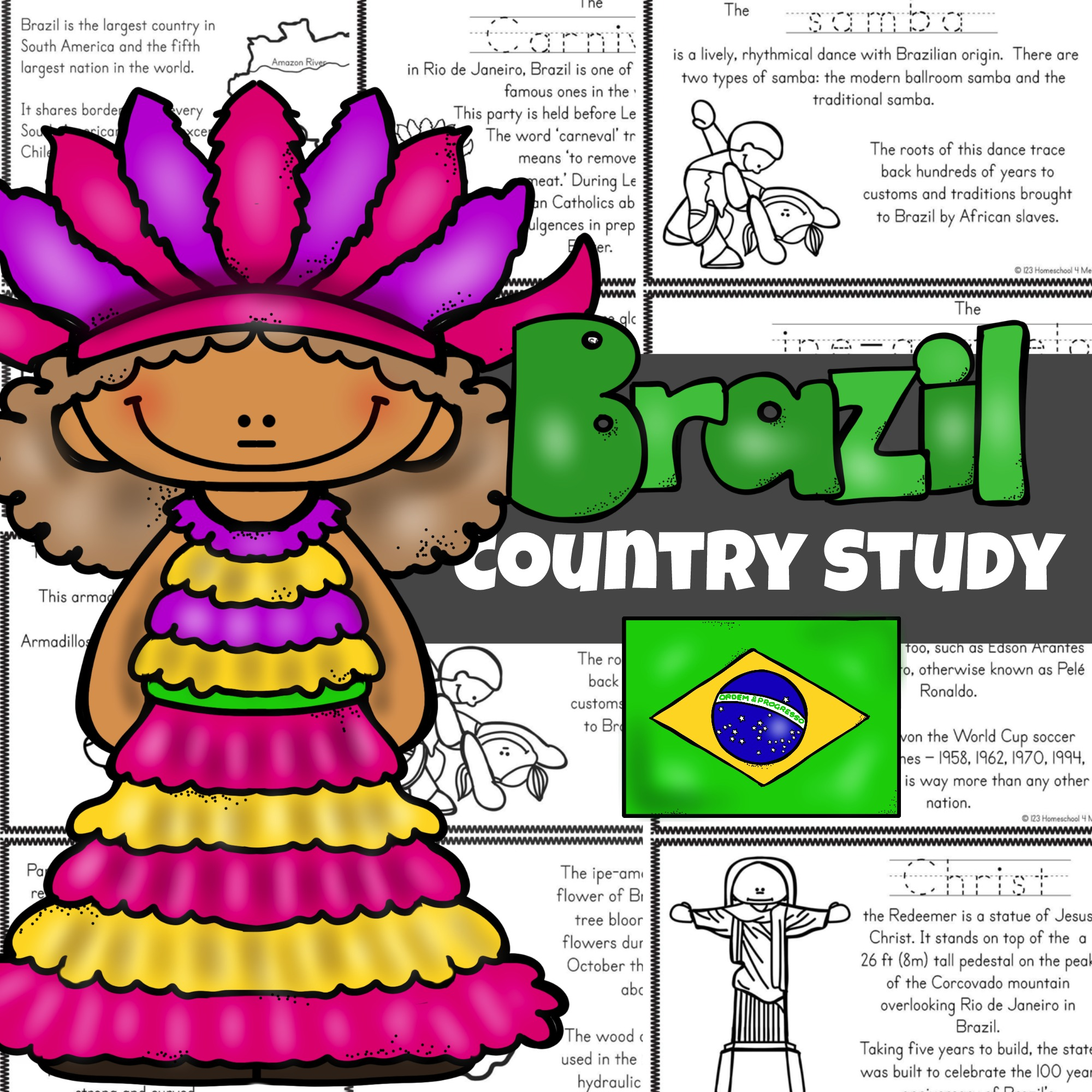 hight resolution of FREE Brazil For Kids Printable Book - Color