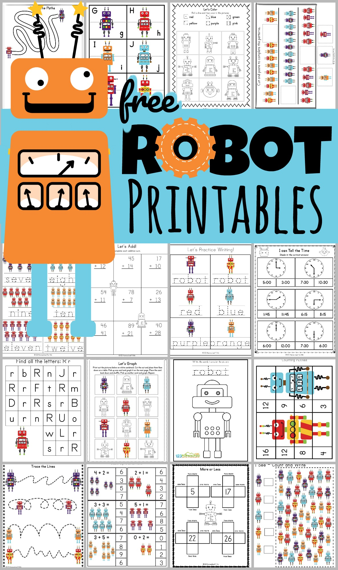 Free Robot Printables Pack For Ages 3 8