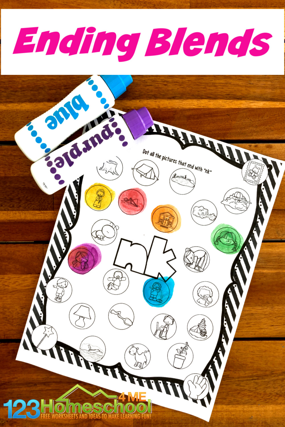 medium resolution of FREE Ending Blends Worksheets with Do a Dot Markers