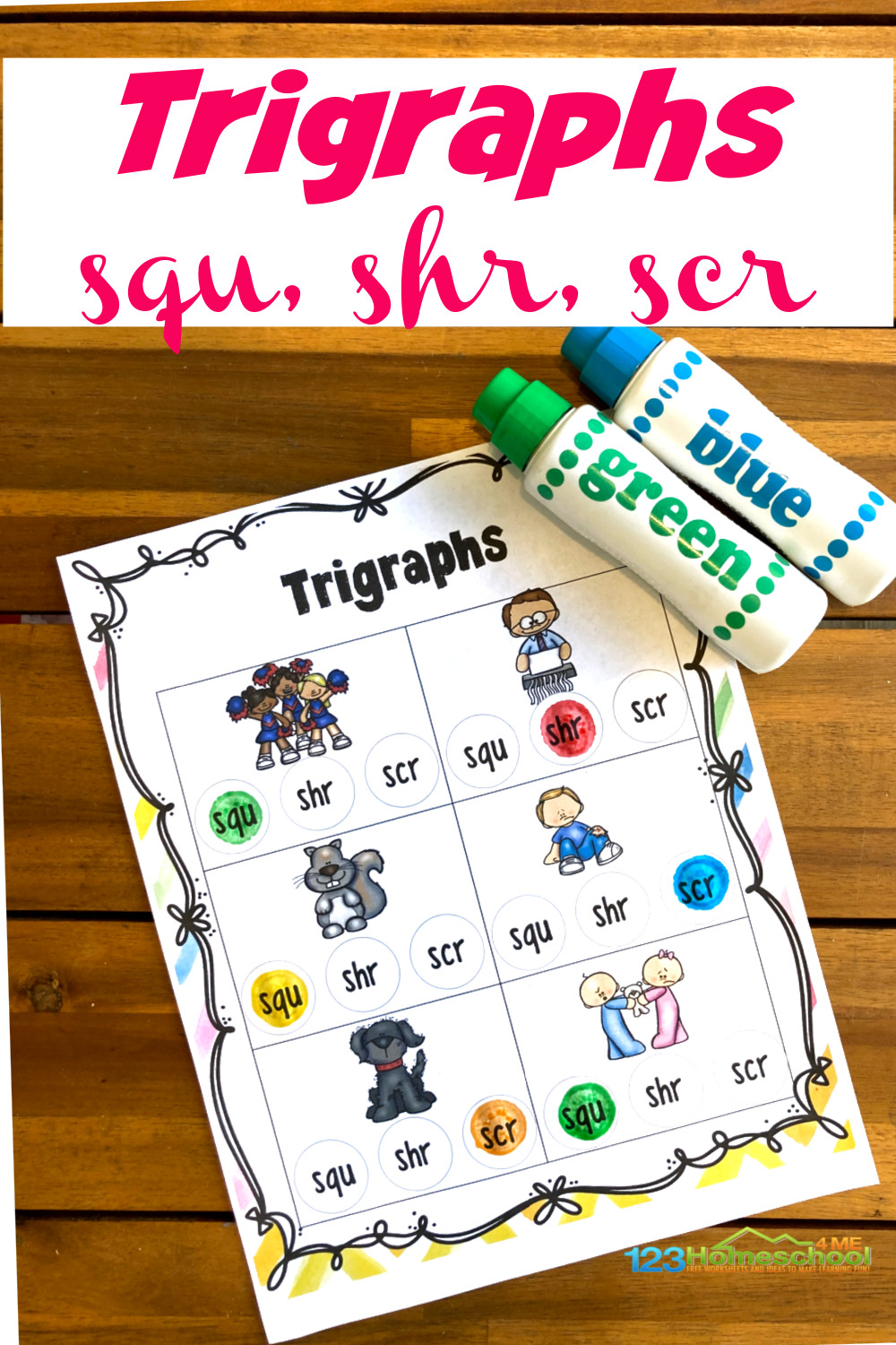 medium resolution of FREE Trigraph Worksheets with Do a Dot Printables