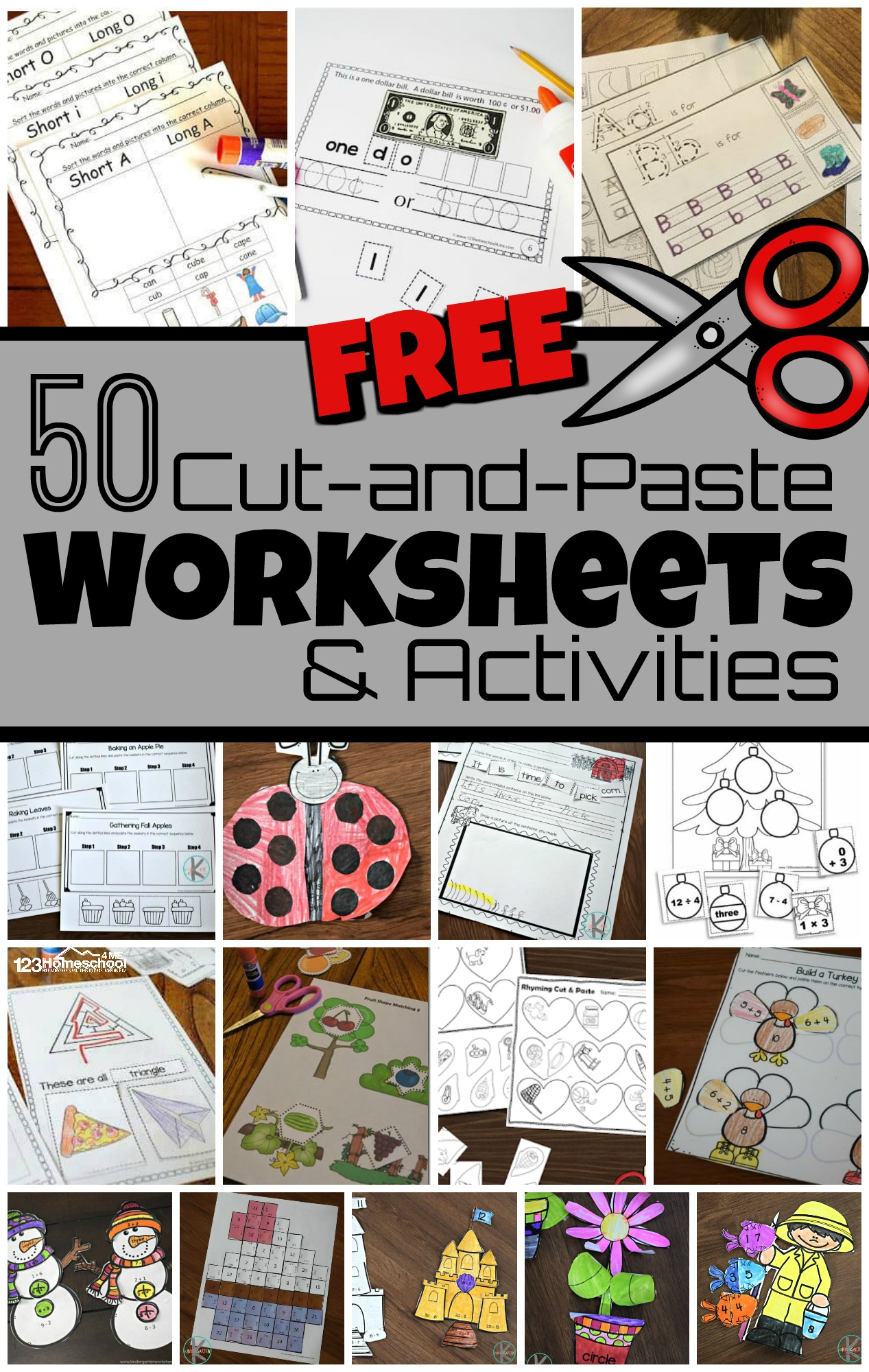 hight resolution of 50 FREE Cut and Paste Worksheets