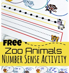 FREE Zoo Animals Printable Number Sense Activitiy [ 1710 x 1024 Pixel ]
