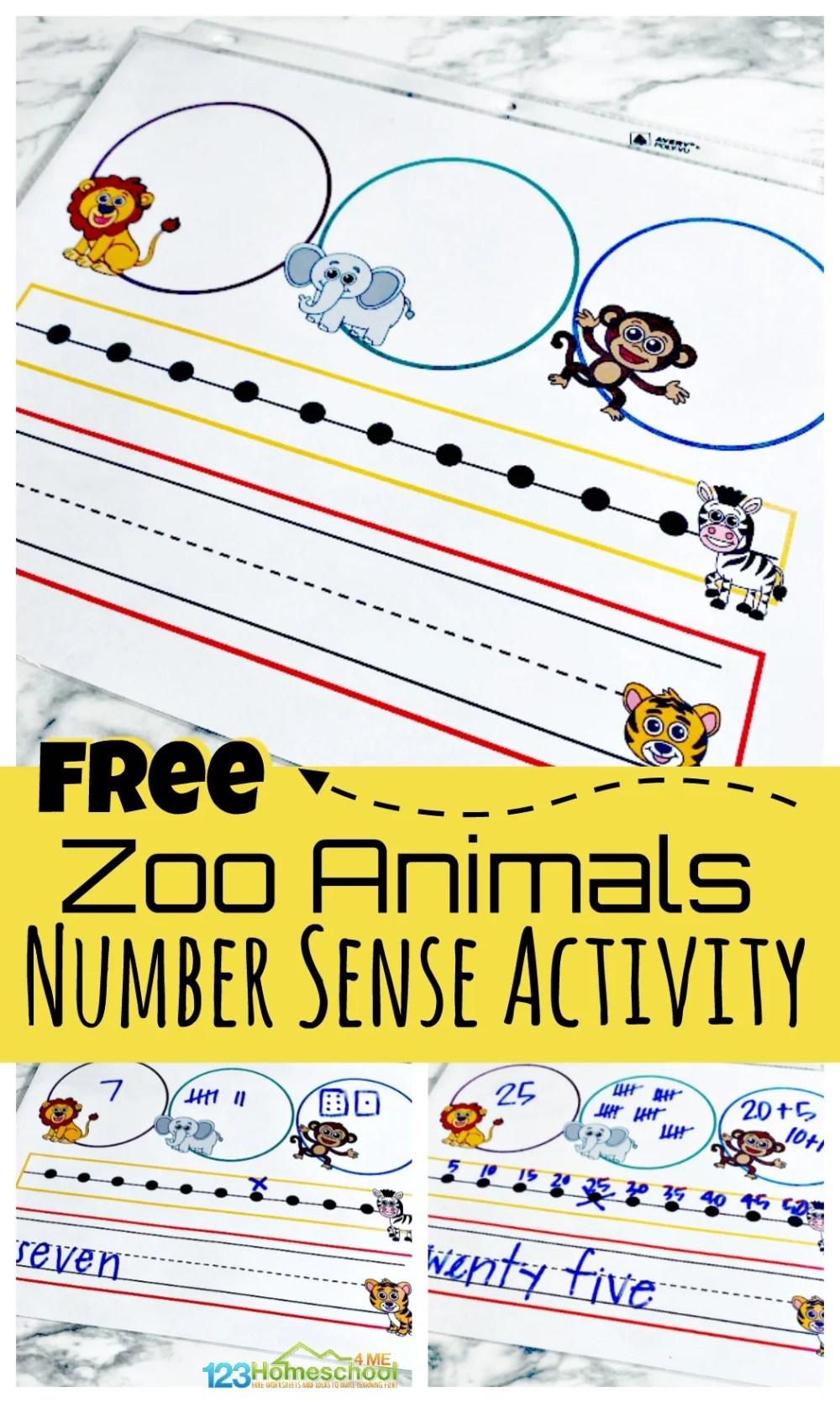 medium resolution of FREE Zoo Animals Printable Number Sense Activitiy