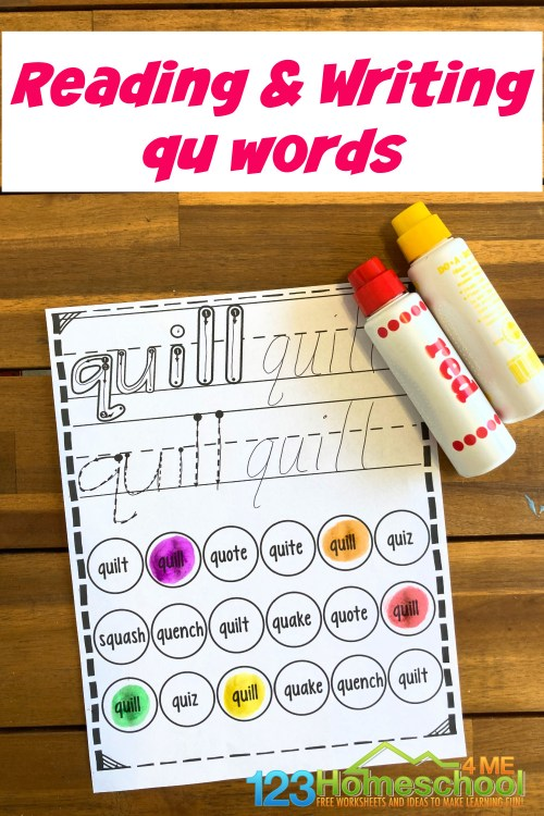 small resolution of FREE Reading and Writing qu words