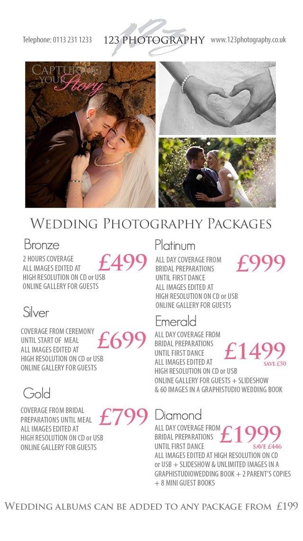 Wedding Photography Prices Leeds photographer prices